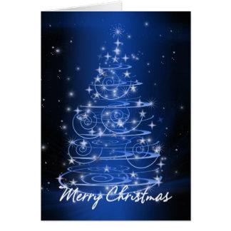Christmas tree design stars and swirls greeting card