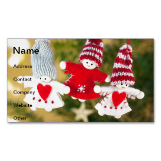 Christmas tree dolls magnetic business card