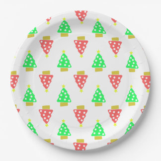 Christmas Tree Doodle Patterned White Paper Plate
