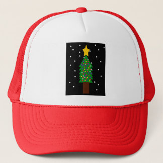 Christmas Tree Drawing Trucker Hat