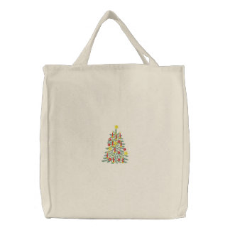Christmas Tree Embroidered Bag