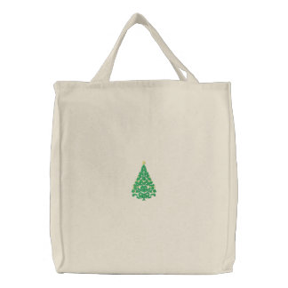 Christmas tree embroidered design canvas tote bag