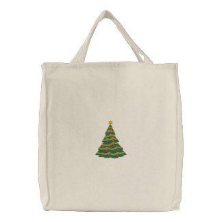 Christmas Tree Embroidered Tote Bag