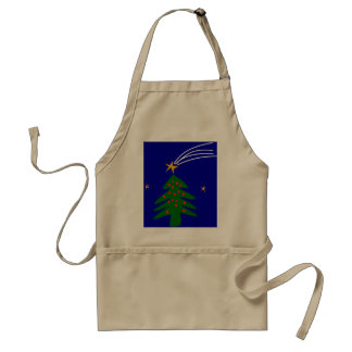 Christmas Tree Falling Star Adult Apron