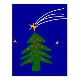 Christmas Tree Falling Star Postcard
