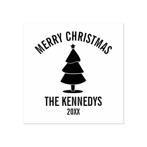 Christmas Tree Family Name Merry Christmas Rubber Stamp