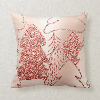 Christmas Tree Fancy Glitter Rose Gold Blush Snow Throw Pillow