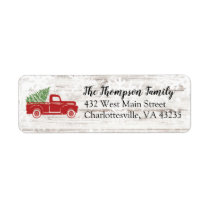 Christmas Tree Farm Red Truck Return Address Label