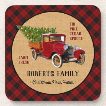Christmas Tree Farm Vintage Truck Red Plaid Rustic Beverage Coaster