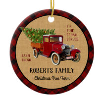 Christmas Tree Farm Vintage Truck Red Plaid Rustic Ceramic Ornament