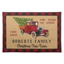 Christmas Tree Farm Vintage Truck Red Plaid Rustic Cloth Placemat