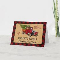 Christmas Tree Farm Vintage Truck Red Plaid Rustic Holiday Card