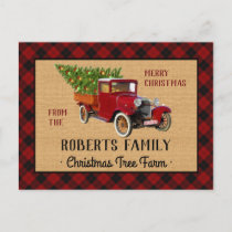 Christmas Tree Farm Vintage Truck Red Plaid Rustic Holiday Postcard