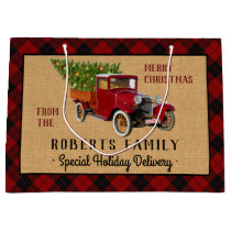 Christmas Tree Farm Vintage Truck Red Plaid Rustic Large Gift Bag
