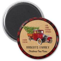 Christmas Tree Farm Vintage Truck Red Plaid Rustic Magnet