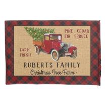 Christmas Tree Farm Vintage Truck Red Plaid Rustic Pillow Case