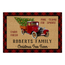 Christmas Tree Farm Vintage Truck Red Plaid Rustic Poster