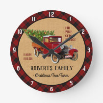 Christmas Tree Farm Vintage Truck Red Plaid Rustic Round Clock