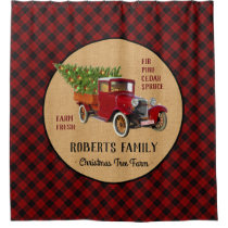Christmas Tree Farm Vintage Truck Red Plaid Rustic Shower Curtain