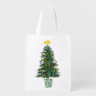 Christmas Tree For Musicians with Decorative Notes Reusable Grocery Bag