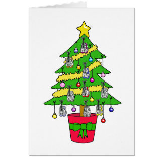 Christmas tree for runners, decorated with shoes. greeting card