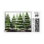 Christmas Tree Forest Postage Stamp