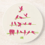 Christmas Tree full of Cheerful Red Birds Beverage Coasters