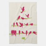 Christmas Tree full of Cheerful Red Birds Towels