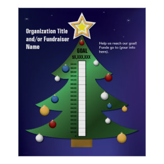 Christmas Tree Fundraising Thermometer Template Poster