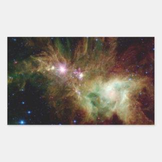 Christmas Tree Galaxy Rectangular Sticker