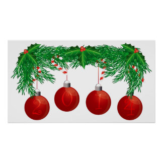 Christmas Tree Garland with 2014 Ornaments Poster
