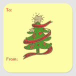 Christmas Tree Gift Tag Sticker