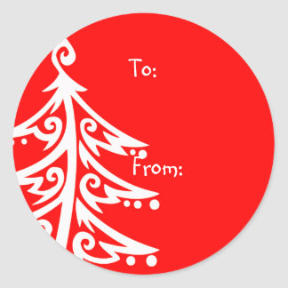 Christmas Tree Gift Tags Classic Round Sticker