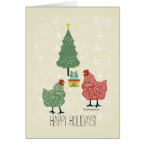 Christmas tree & gift with red & green hens card