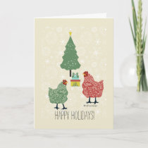 Christmas tree & gift with red & green hens holiday card