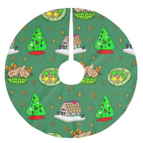 Christmas Tree, Gingerbread House, Frosted Cookies Brushed Polyester Tree Skirt