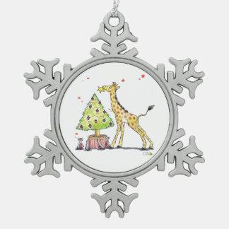 Christmas tree giraffe snowflake pewter christmas ornament