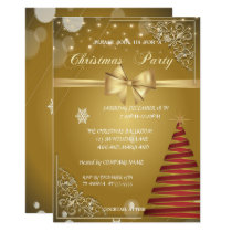 Christmas Tree, Gold Bow,CorporateChristmas Party Invitation