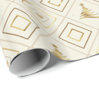 Christmas Tree Gold Wrapping Paper