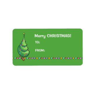 Christmas Tree green2 Gift Tag Label label