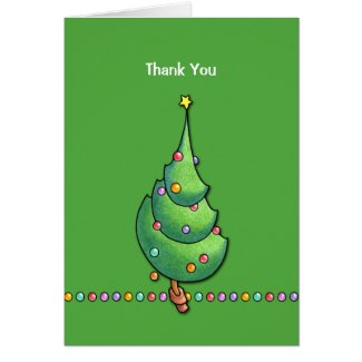 Christmas Tree green2 Thank You Note Card card