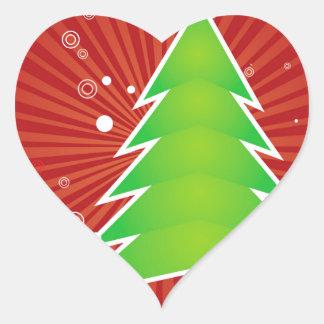 Christmas tree green applique heart sticker