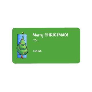 Christmas Tree green Gift Tag Label label