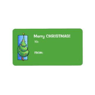 Christmas Tree green Gift Tag Label