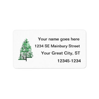 Christmas tree green of shapes mottled labels