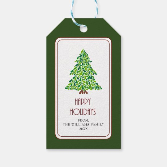 christmas tree green red personalized elegant gift tags zazzle com