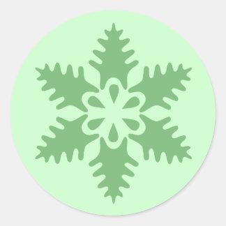 Christmas Tree Green Snowflake Classic Round Sticker
