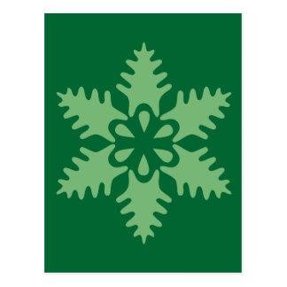 Christmas Tree Green Snowflake Postcard