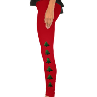 Christmas tree green sparkles legging tights