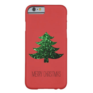 Christmas tree green sparkles + text Red iPhone 6 Barely There iPhone 6 Case